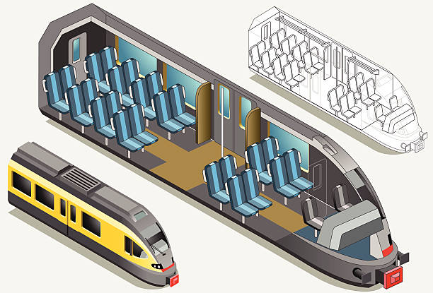 bildbanksillustrationer, clip art samt tecknat material och ikoner med isometric high speed subway longitudinal section - billboard train station