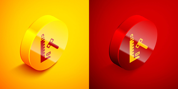 Isometric High striker attraction with big hammer icon isolated on orange and red background. Attraction for measuring strength. Amusement park. Circle button. Vector