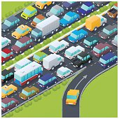 Isometric illustration of a yellow car entering a highway at rush hour.