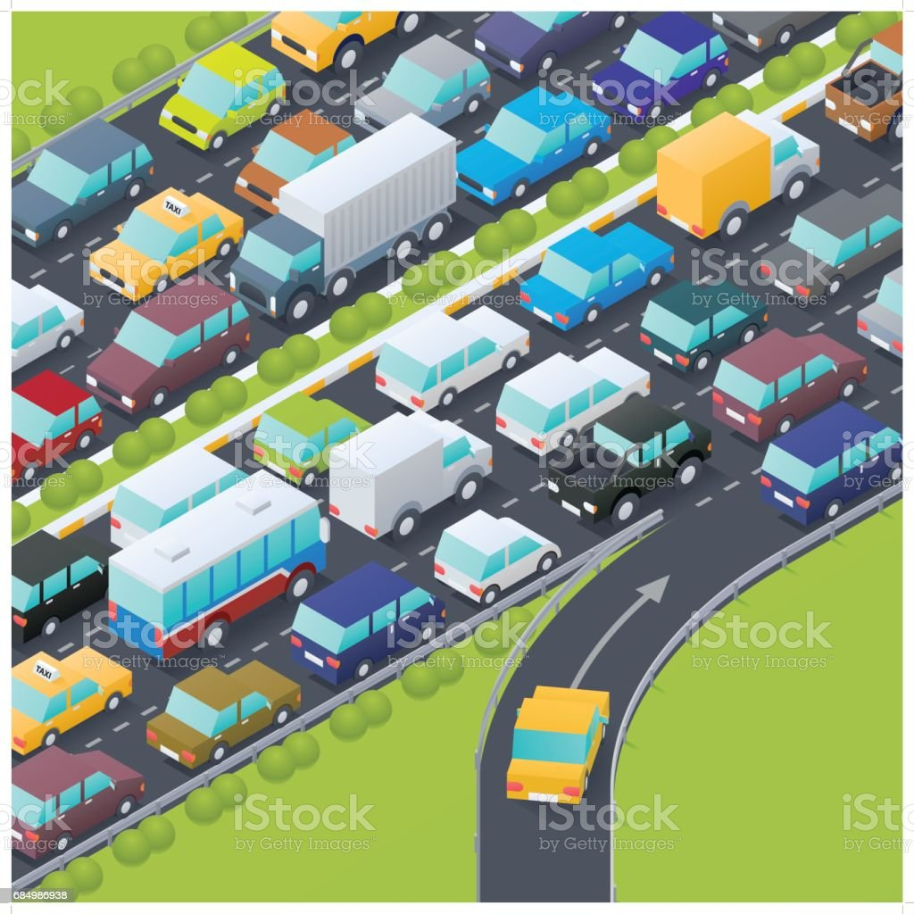 isometric highway intersection at rush hour vector art illustration
