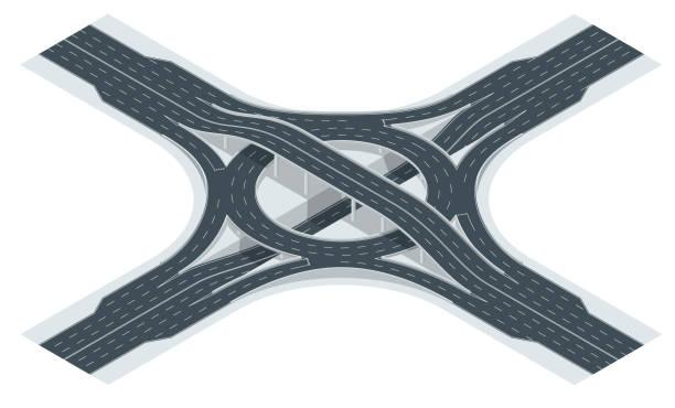 stockillustraties, clipart, cartoons en iconen met isometrische snelweg afslag weg en uitwisseling viaduct. vectorillustratie - rotonde kruispunt