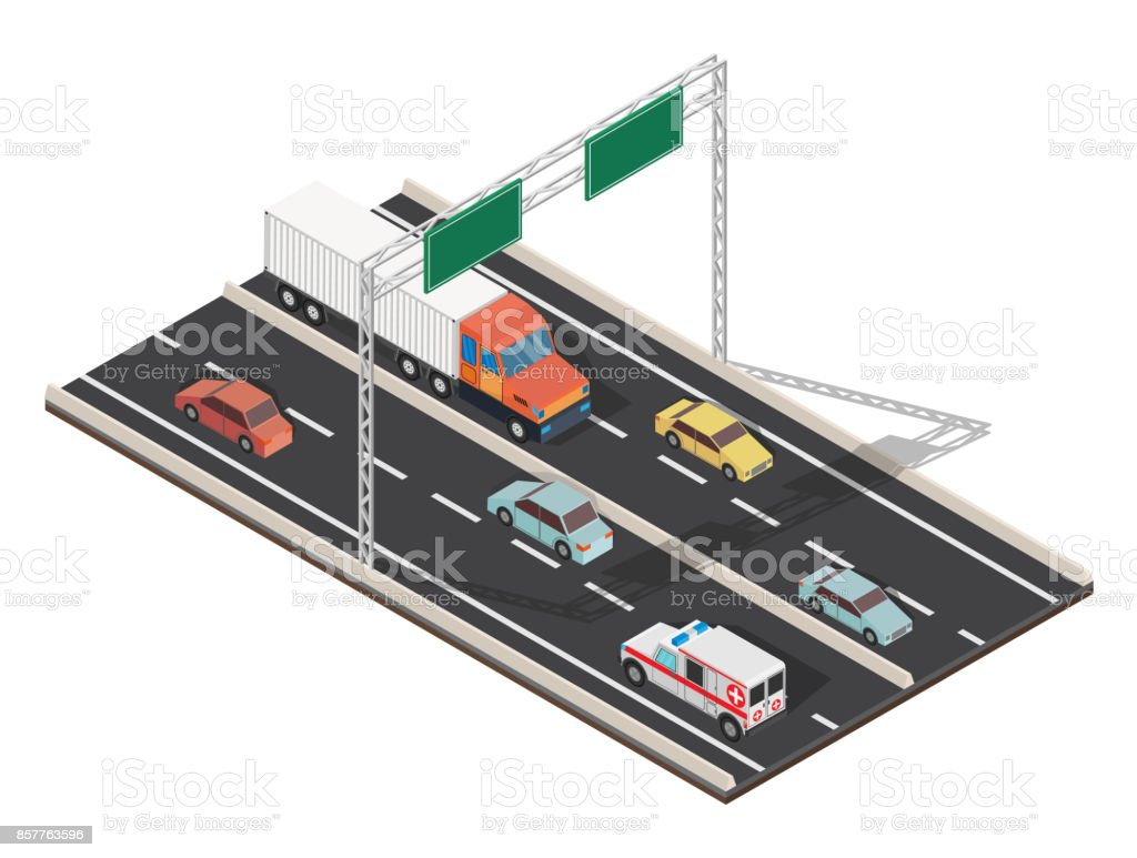 Isometric highway traffic vector illustration vector art illustration