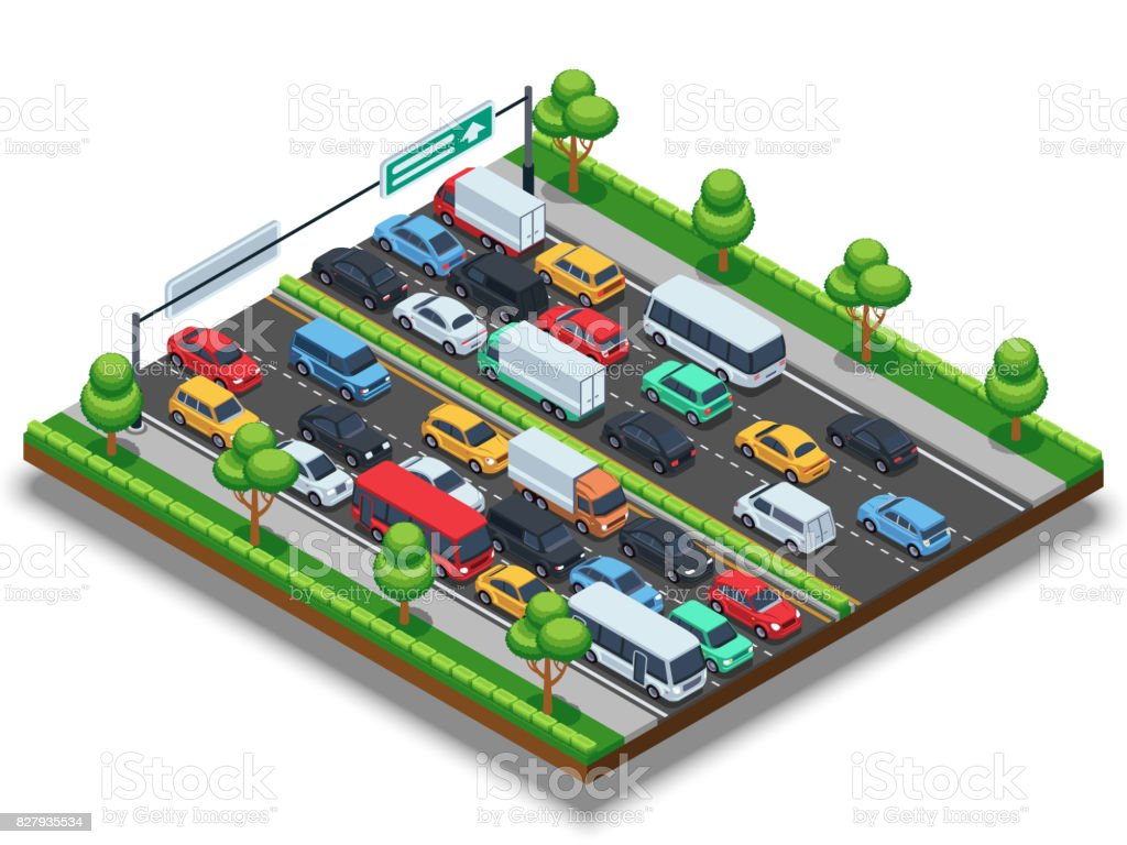 Isometric highway with traffic jam. 3d transportation vector concept with cars and trucks vector art illustration