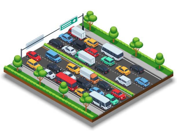 等距公路交通堵塞。3d 交通向量的概念與汽車和卡車 - traffic 幅插畫檔、美工圖案、卡通及圖標