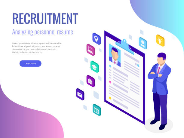 Isometric hiring and recruitment concept for web page, banner, presentation. Job interview, recruitment agency vector illustration Isometric hiring and recruitment concept for web page, banner, presentation. Job interview, recruitment agency vector illustration military recruit stock illustrations