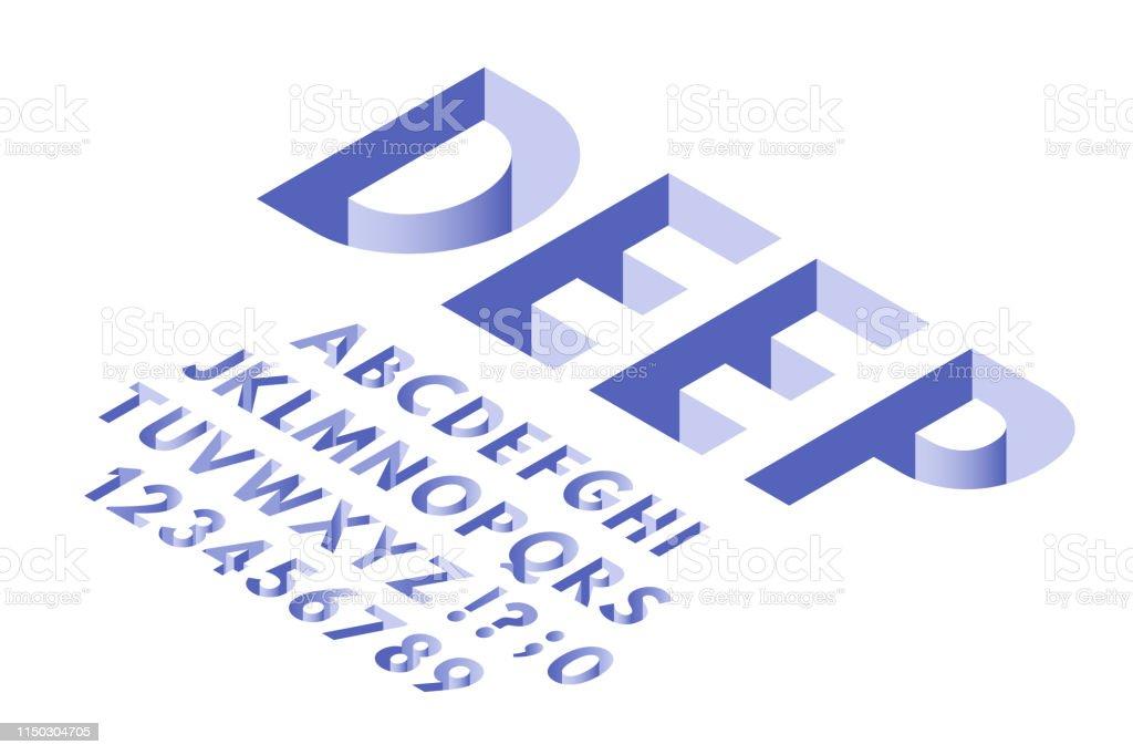 Isometric Hole Font Deep Holes Typography Alphabet Letters ...