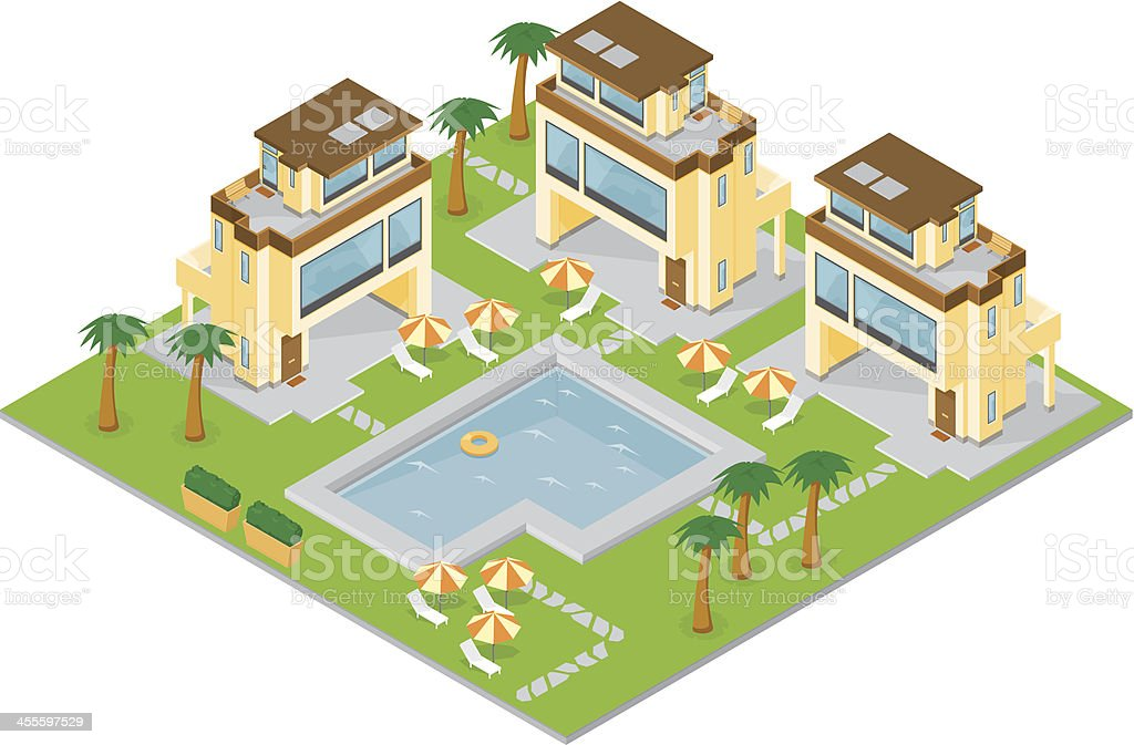 Isometric Holiday Resort vector art illustration