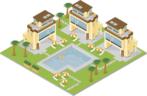isometric holiday resort - urlaubsorte stock-grafiken, -clipart, -cartoons und -symbole