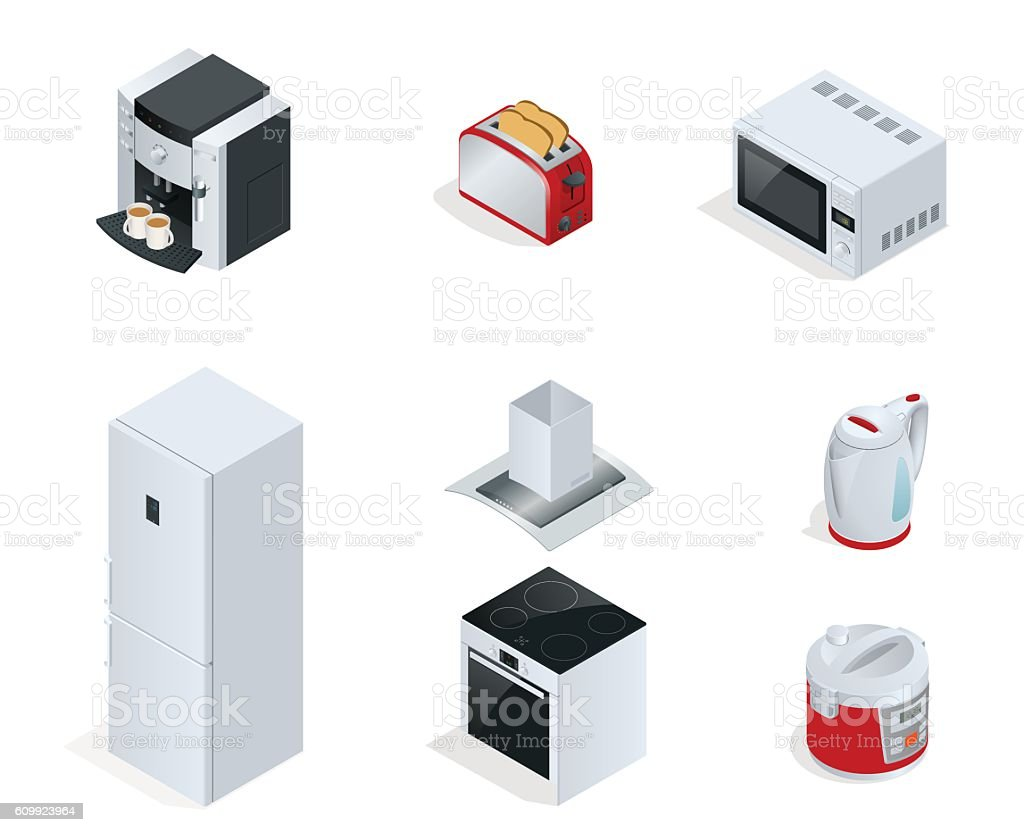 Isometric Home appliances vector art illustration