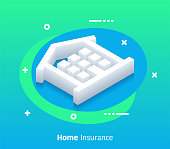 Home insurance isometric design concept with modern flat style gradients. Vector design elements useful for web banner or poster.