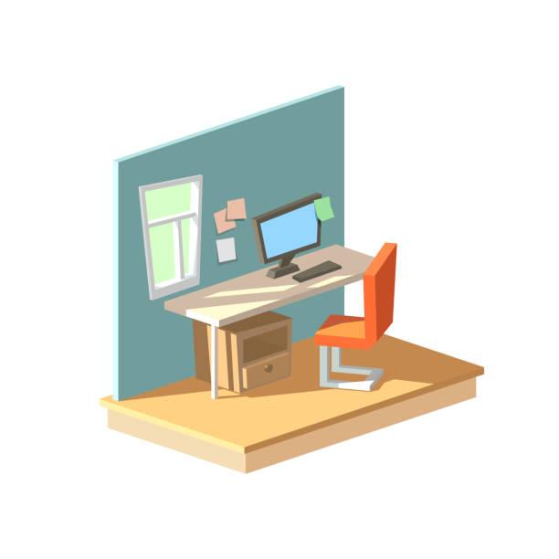 Isometrische home-Office im Innenraum – Vektorgrafik