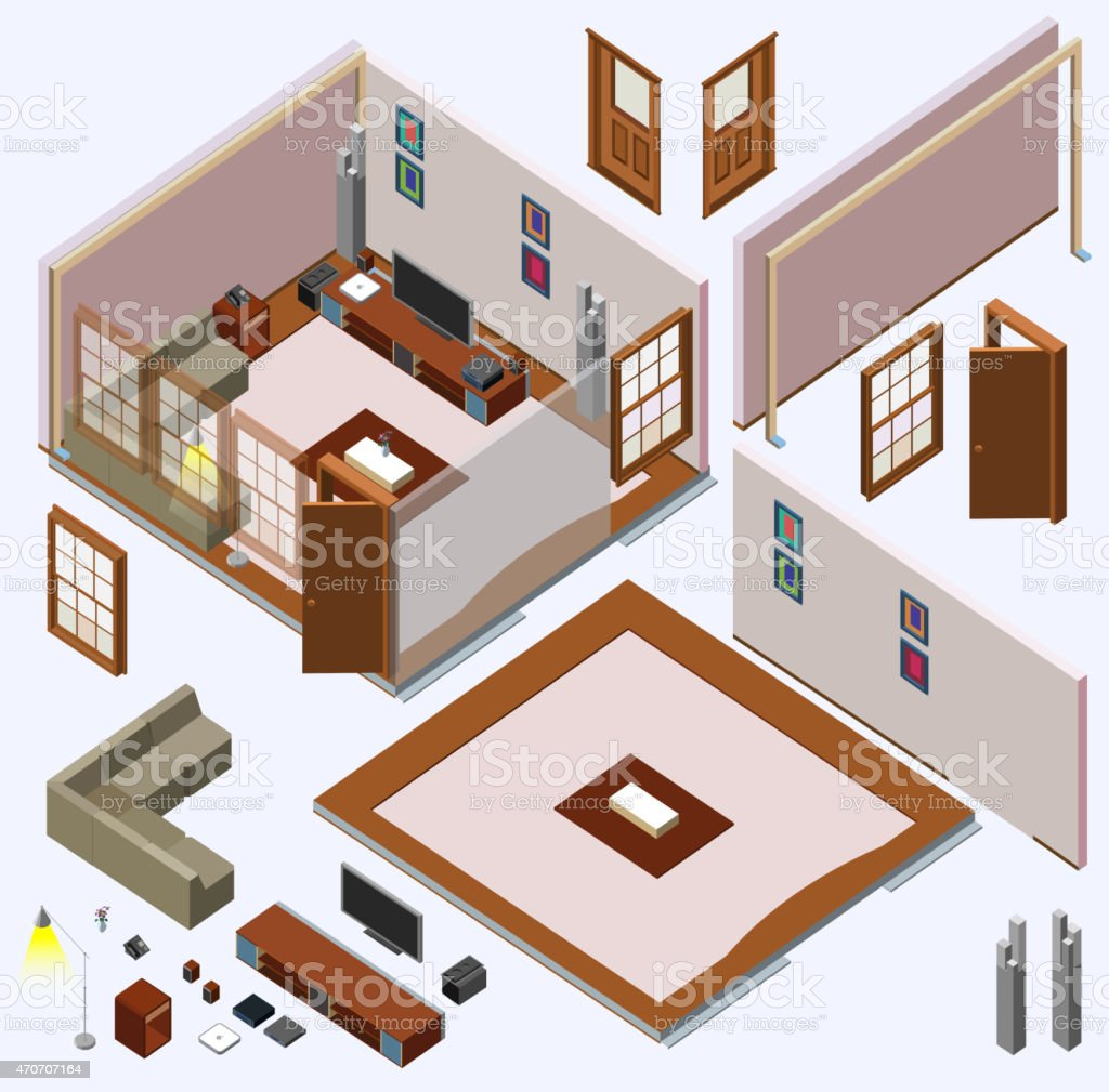 Isometric Home Planning. 3D Vector Creation Kit Royalty Free Isometric Home  Planning 3d Vector