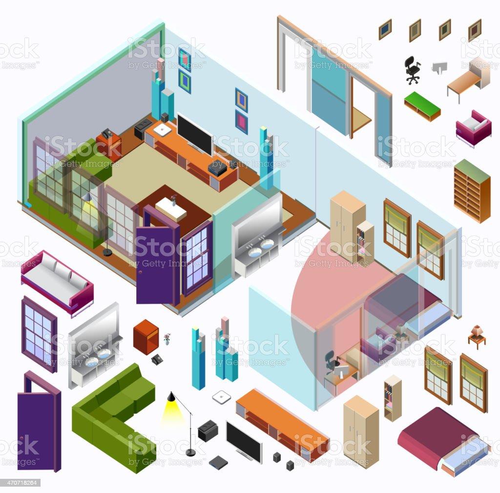 Isometric Home Planning. 3D Vector Creation Kit vector art illustration