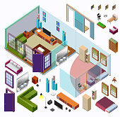 Isometric Home Planning. 3D Vector Creation Kit