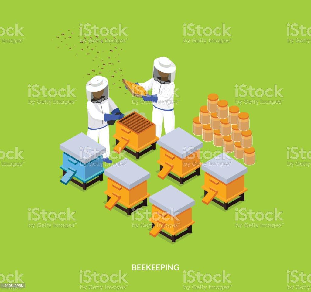 Isométrique Honey Bee rucher apiculteur Design plat - Illustration vectorielle