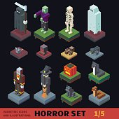 Isometric horror vector flat illustration set. Halloween. Characters and animals: witch, skull, vampire, zombie, skeleton, wraith, ghost, pumpkin, black cat, cobra, viper, death.