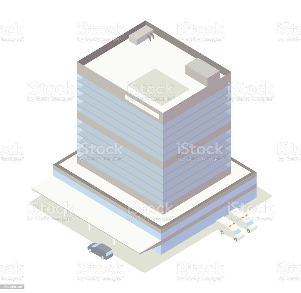 Isometric hospital building illustration vector art illustration