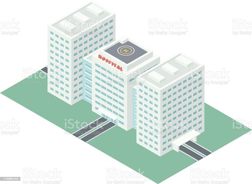 Isometric Hospital Building vector art illustration