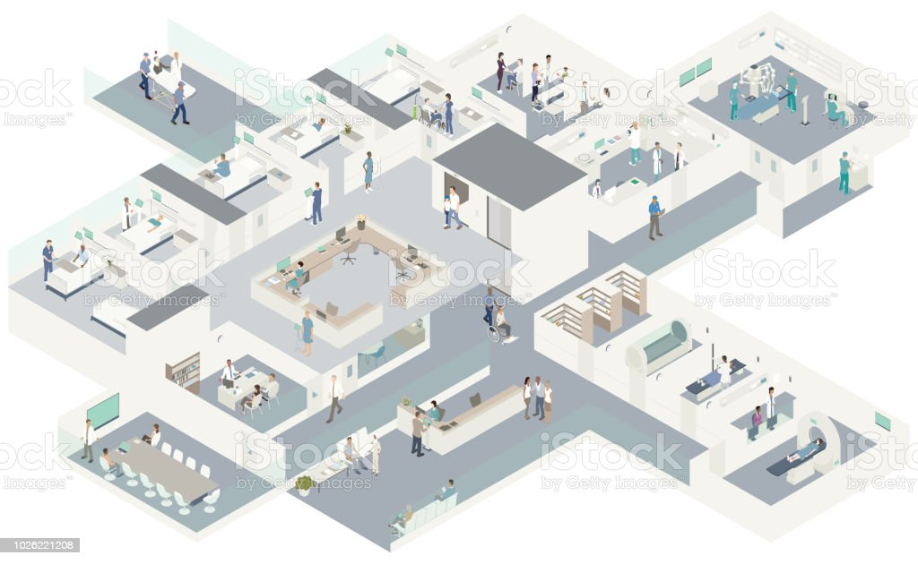 Isometric hospital cutaway royalty-free isometric hospital cutaway stock vector art & more images of administrator