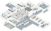 Detailed vector illustration of a contemporary hospital in isometric view. Cutaway reveals several rooms including a waiting area, conference room and administrative offices, surgery, lab, MRI, X-ray and scanning rooms, emergency, hospital pharmacy, a clinic section, and on the second level, patient rooms surrounded by a nurse's station. More than 50 unique people and an array of medical equipment and technology complete the scene.