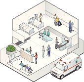 Modern hospital illustration in isometric view, cutaway style.