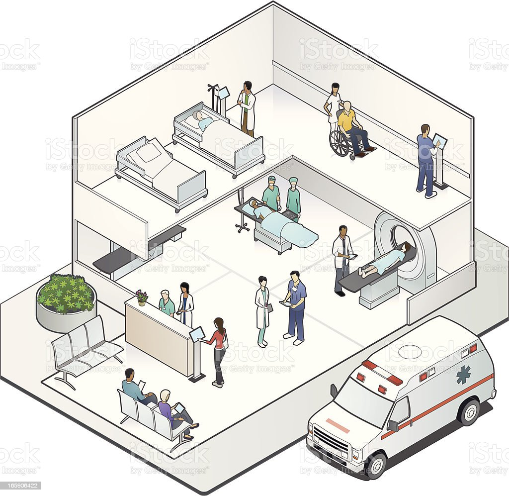 Isometric Hospital Cutaway vector art illustration