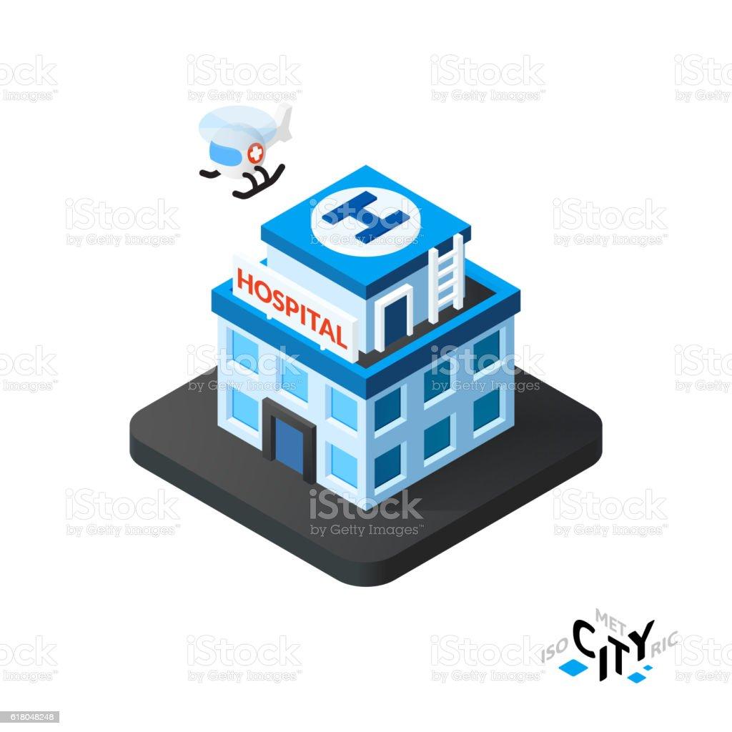 Isometric hospital icon, building city infographic element, vector illustration vector art illustration