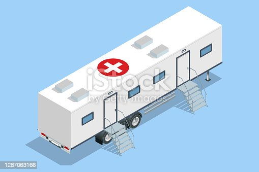 Isometric hospital in the car. Mobile hospital with medical beds, laboratory and operating room