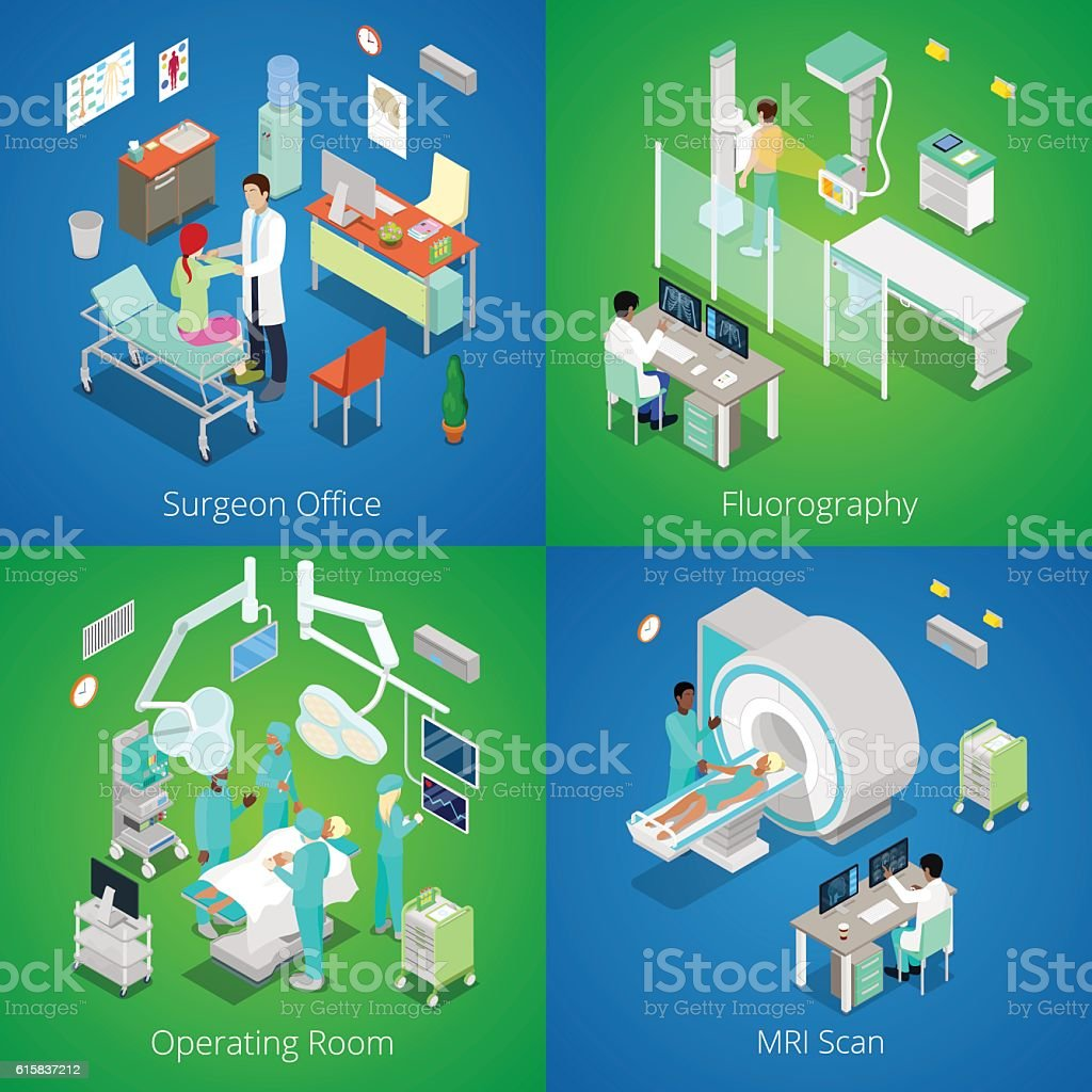Isometric Hospital Interior. Medical MRI Scan, Operating Room, Fluorography Process vector art illustration