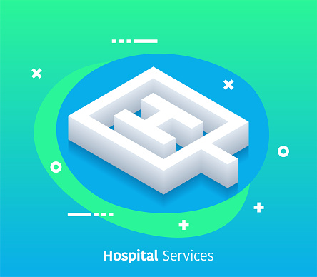 Isometric Hospital Services Vector Web Banner & Icon Design