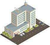 Vector isometric hospital building.