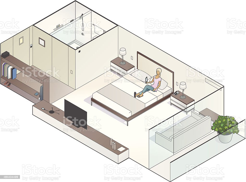 Isometric Hotel Room Illustration vector art illustration