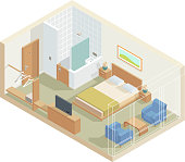 Isometric perspective hotel room with bed, television, bathroom and armchair in vector.