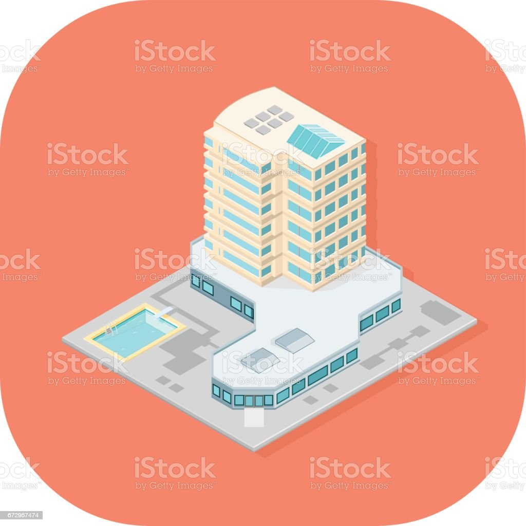 Isometric Hotel with swimming pool icon. vector art illustration