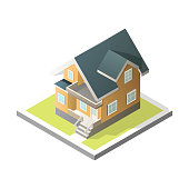Isometric House. 3D Cottage. Vector illustration on a white background. For real estate brochure or others works.