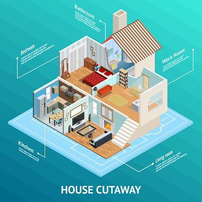 isometric house cutaway