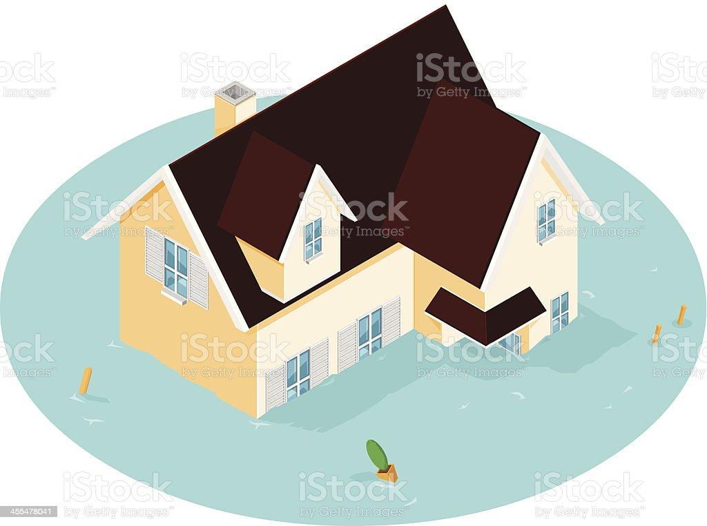 Isometric House Flood vector art illustration