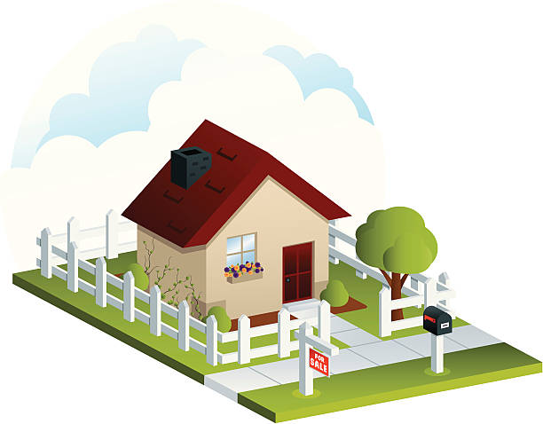 stockillustraties, clipart, cartoons en iconen met isometric house for sale - garden house