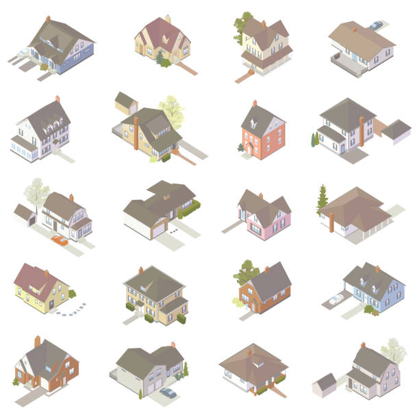 Isometric House Icons vector art illustration