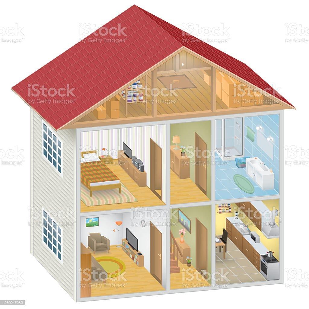 Isometric House Interior vector art illustration