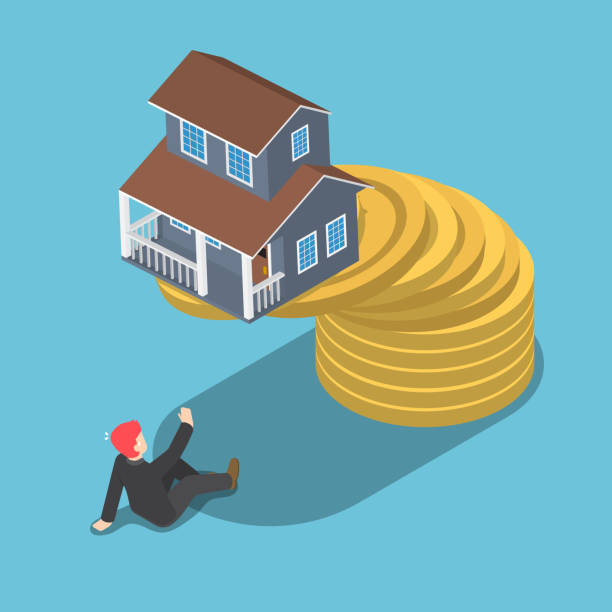 Casa de isométrico en la parte superior de oro moneda cayendo al empresario. - ilustración de arte vectorial