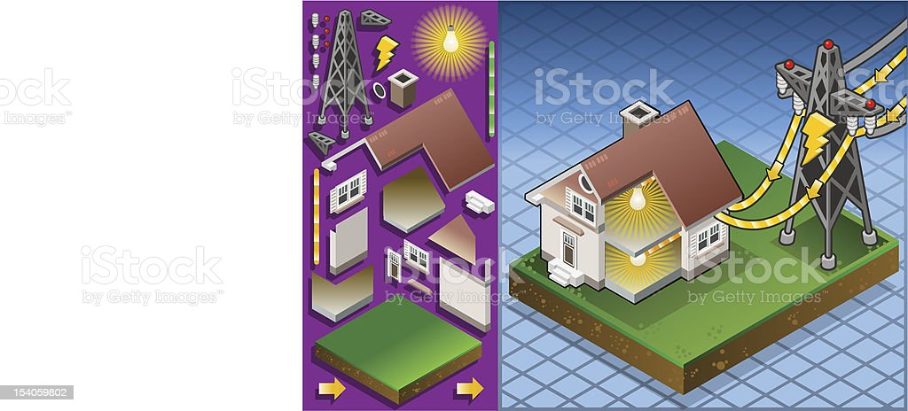 Isometric house powered by electrical tower vector art illustration