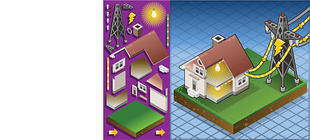 isometric house powered by electrical tower - electrical wiring home stock illustrations, clip art, cartoons, & icons