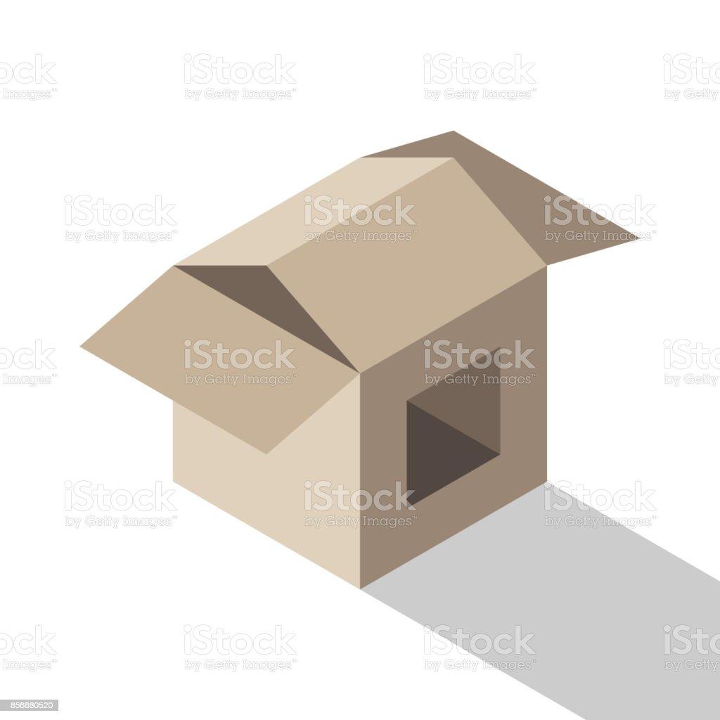 Isometric house shaped box vector art illustration