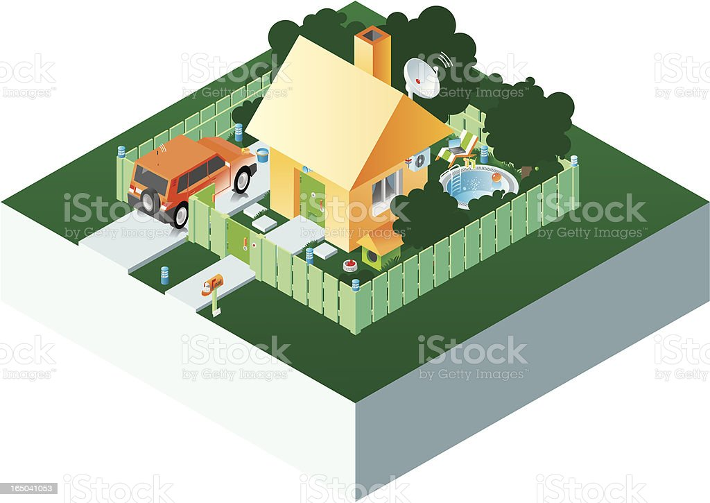 Isometric house. royalty-free isometric house stock vector art & more images of animal antenna