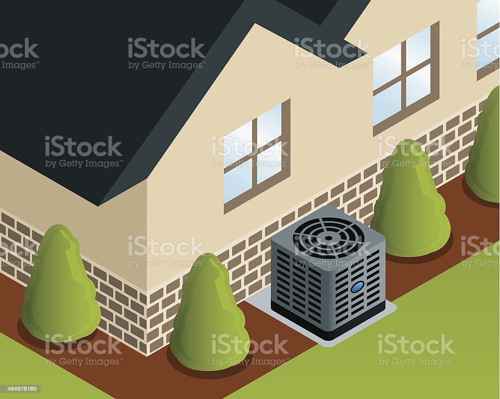 Isometric House with Air Conditioner vector art illustration
