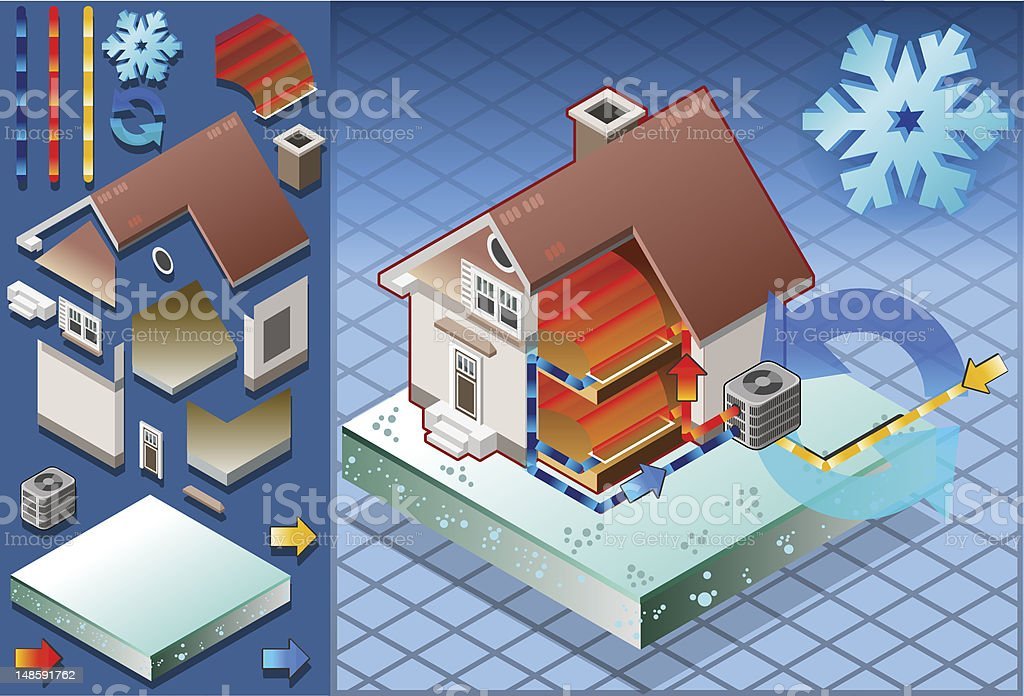 Isometric house with conditioner in heat production vector art illustration