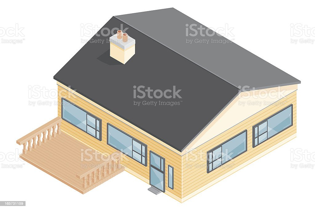 Isometric House with Decking. royalty-free stock vector art