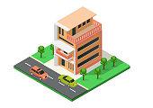 istock Isometric house with minimalist architecture 1332229184