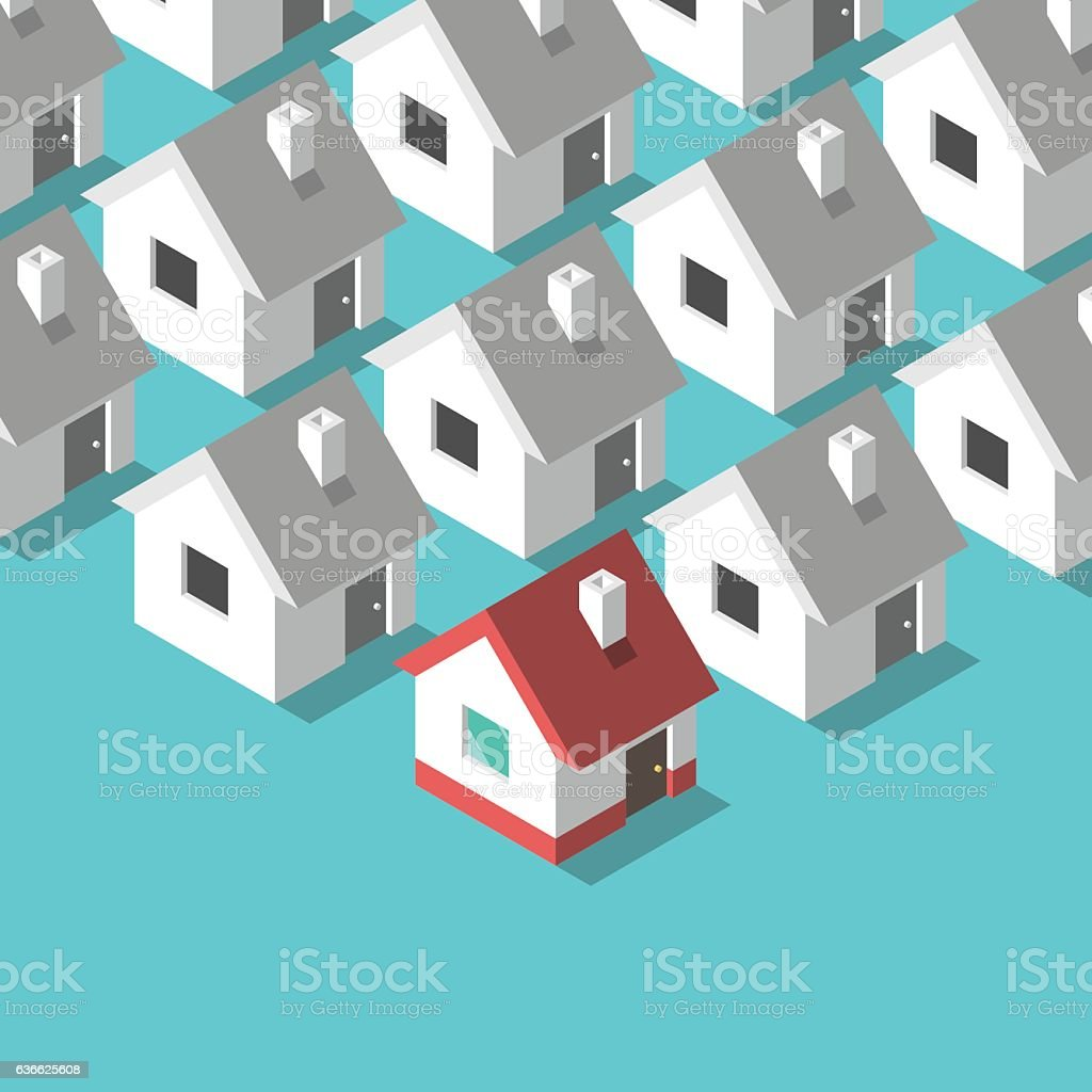 Isometric houses, home concept vector art illustration